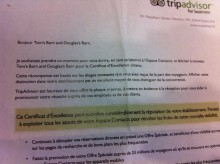 2012 Winner: Letter of Congratulations from TripAdvisor
