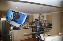 Videoing the kitchen in Douglas's Barn