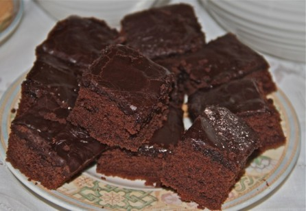 Delicious homemade chocolate cake made for our Tom's & Douglas's Barn guests
