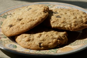 Biscuits made with oats and raisins