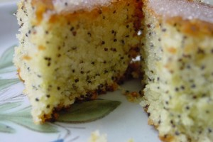 Lemon Drizzle cake with the addition of poppy seeds